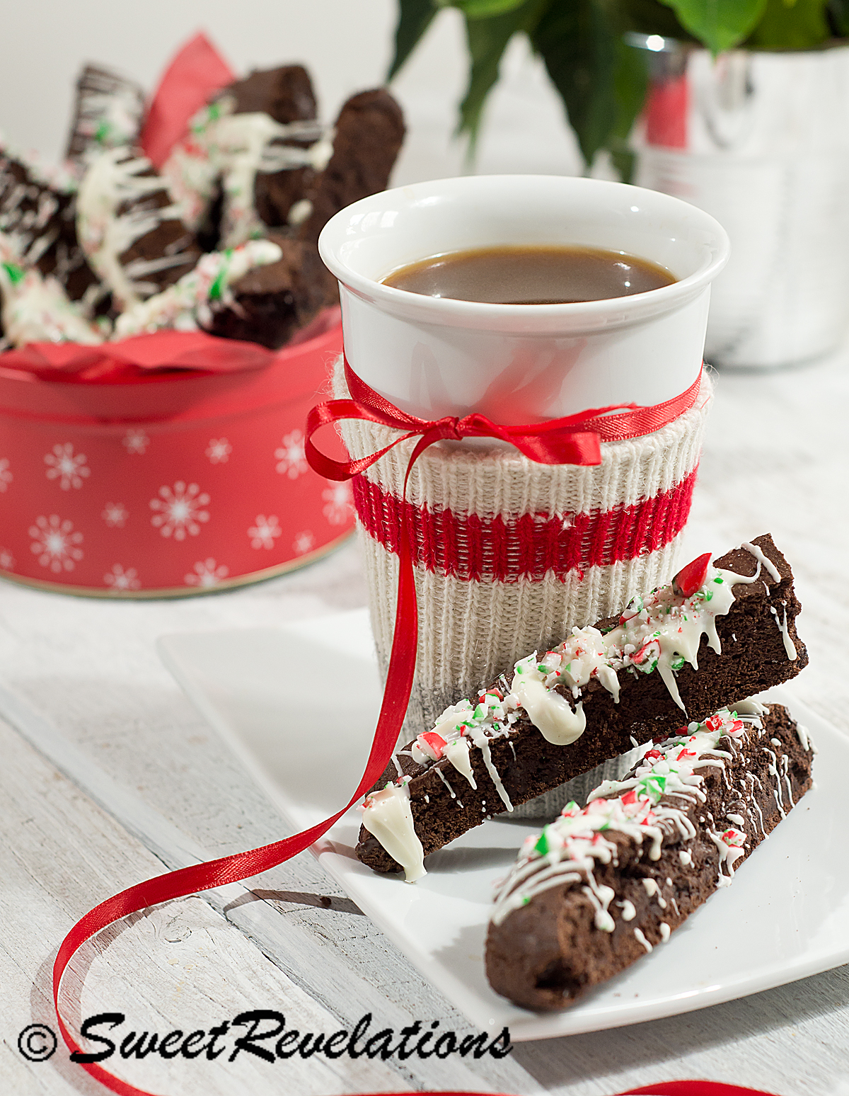 Triple Chocolate Candy Cane Biscotti Sweetrevelations