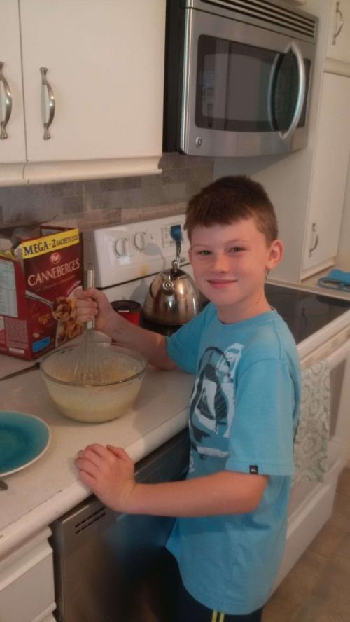 Owen making a Pancake