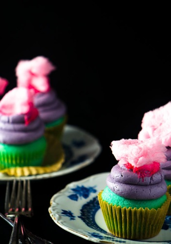Cotton Candy Cupcakes via My Dish Is Bomb