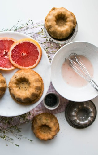 Grapefruit Poppyseed Mini Bundts via My Kitchen Love
