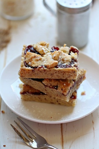 Raspberry Coconut Linzer Bars via The Brunette Baker