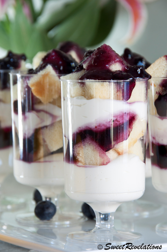 Mini Wild Blueberry Trifles via SweetRevelations